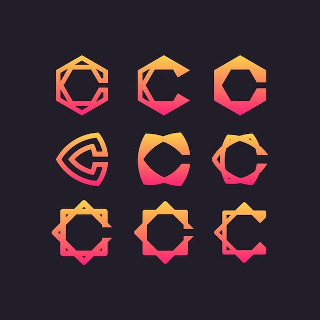 Letter c ingesteld logo Premium Vector