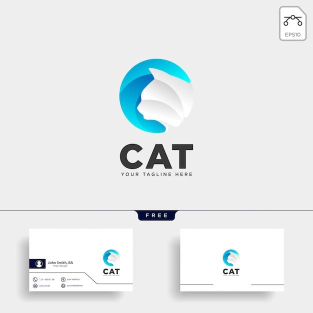 Letter c kat gezelschapsdier type logo sjabloon vector pictogram Premium Vector