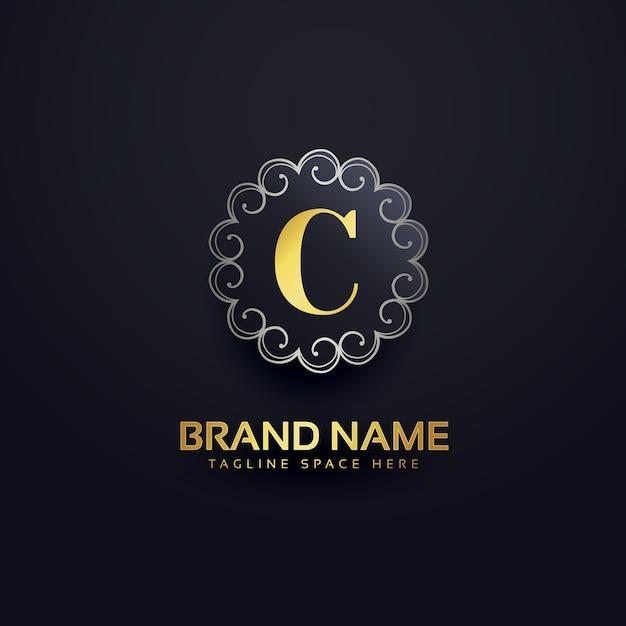 Letter c logo met wervelingen decoratie Gratis Vector