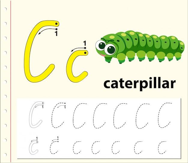 Letter c tracing alfabet werkbladen Premium Vector