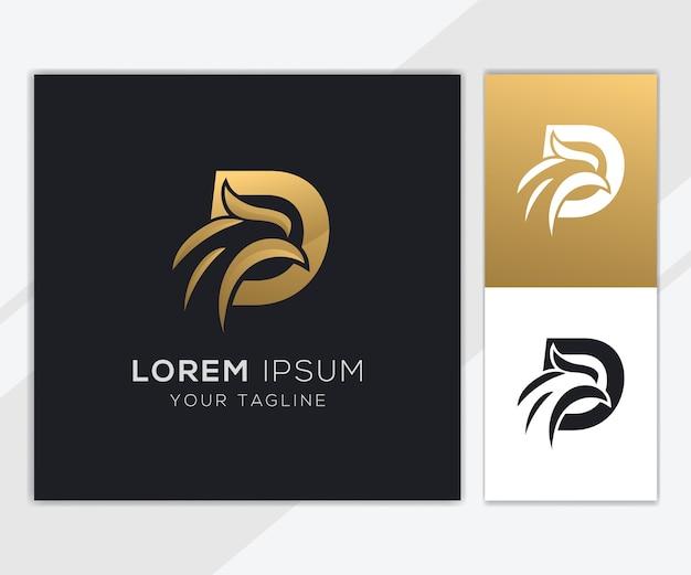 Letter d met luxe abstracte eagle logo sjabloon Premium Vector