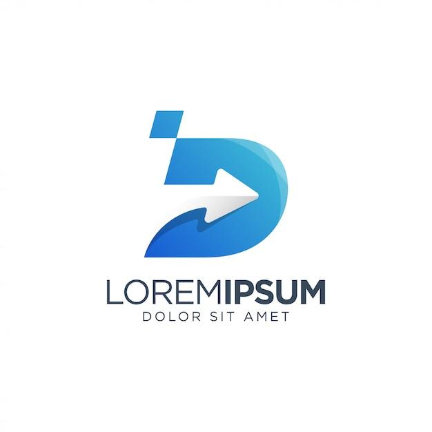 Letter d pijl logo Premium Vector