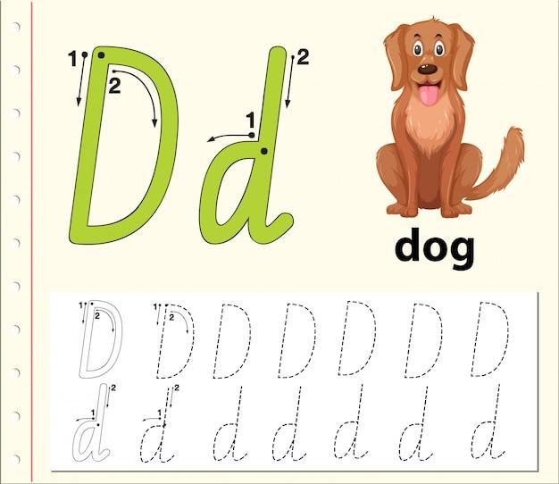 Letter d tracing alfabet werkbladen Premium Vector