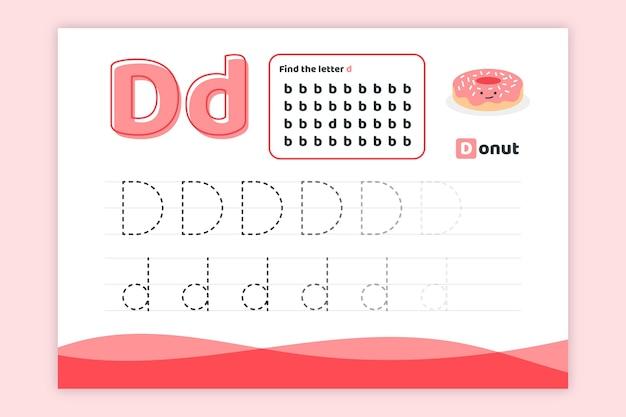 Letter d-werkblad met donut Gratis Vector