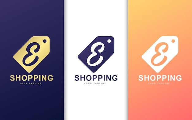 Letter e-logo in prijskaartje. modern winkelen logo concept Premium Vector