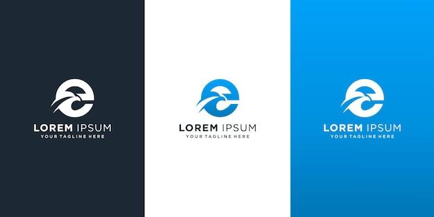 Letter e met eagle-logo Premium Vector