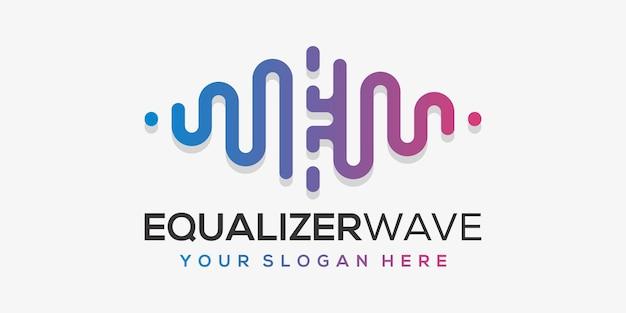 Letter e met puls. akkoord element. logo sjabloon elektronische muziek, equalizer, winkel, dj-muziek, nachtclub, disco. Premium Vector