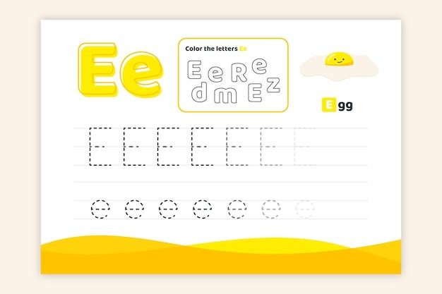 Letter e-werkblad met ei Gratis Vector