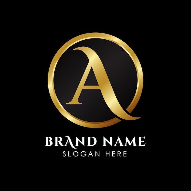 Letter een eerste logosjabloon in goudkleur Premium Vector