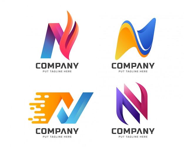 Letter eerste n logo sjabloon voor bedrijf Premium Vector