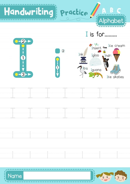 Letter i werkblad in hoofdletters en kleine letters Premium Vector