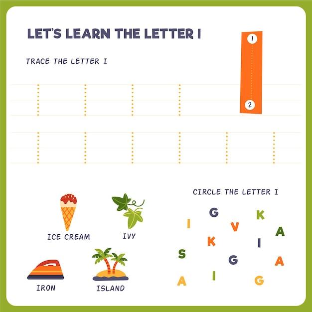 Letter i-werkblad voor kinderen Gratis Vector