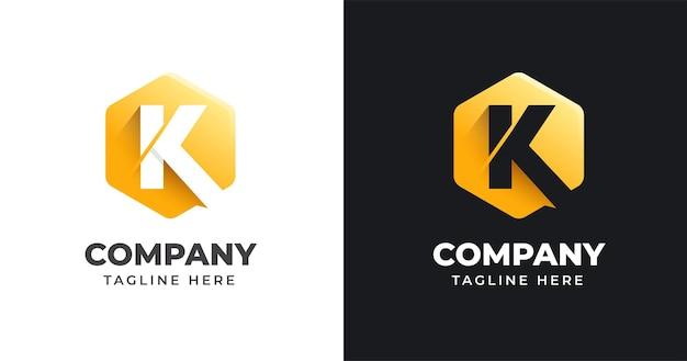Letter k logo ontwerpsjabloon met geometrische vormstijl Premium Vector