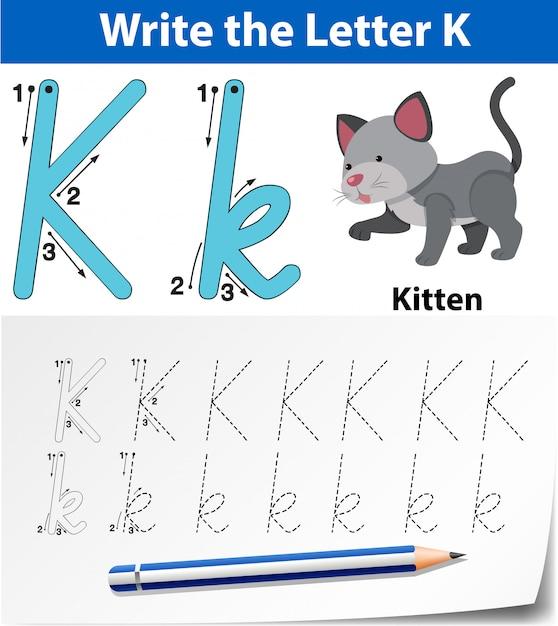Letter k tracing alfabet werkbladen Premium Vector