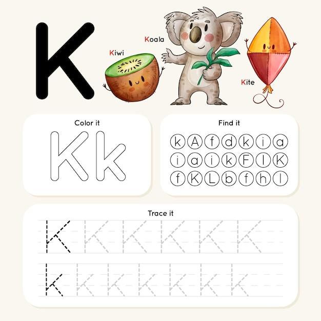 Letter k-werkblad met koala, kiwi, vlieger Gratis Vector