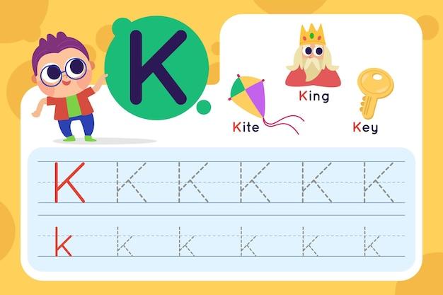 Letter k-werkblad met vlieger en koning Gratis Vector