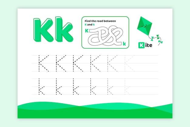 Letter k-werkblad met vlieger Gratis Vector