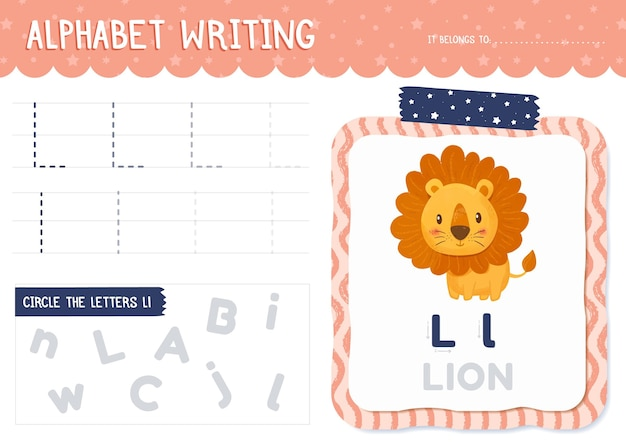 Letter l-werkblad met leeuw Gratis Vector