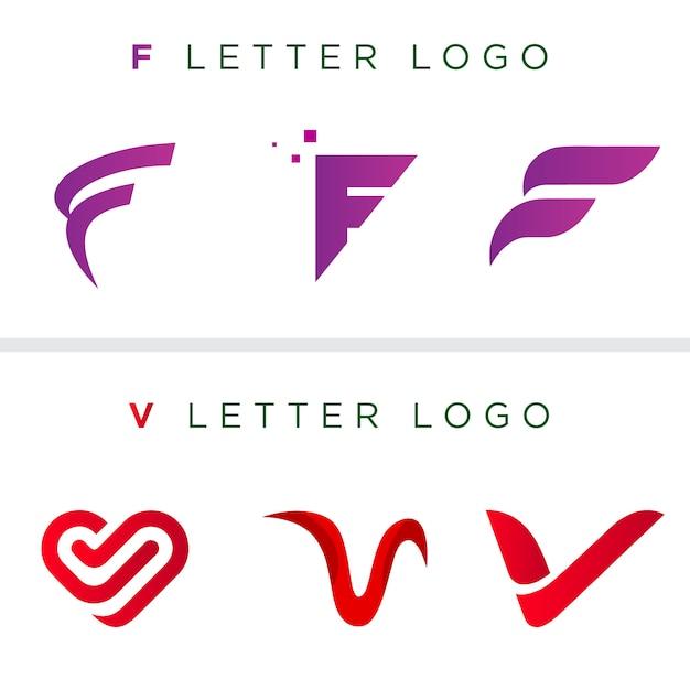Letter logo template | f brief | v brief | vector logo sjabloon | uniek logo-ontwerp Premium Vector