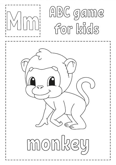 Letter m is voor aap. abc-spel voor kinderen. alfabet kleurplaat. Premium Vector