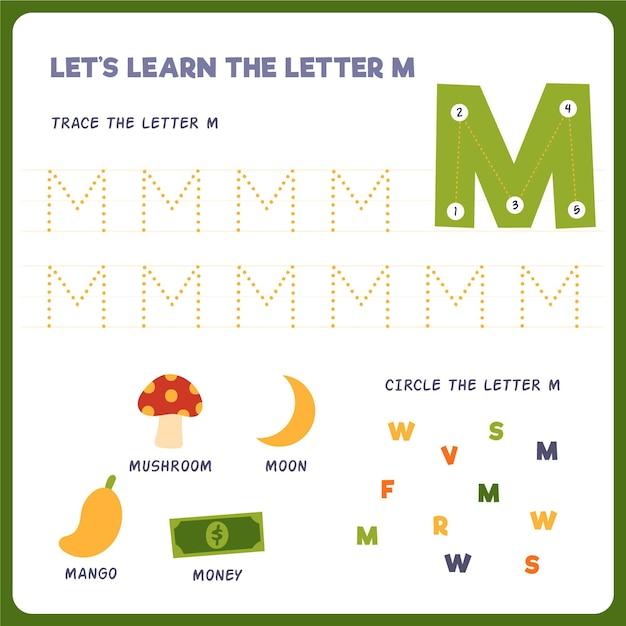 Letter m-werkblad voor kinderen Gratis Vector