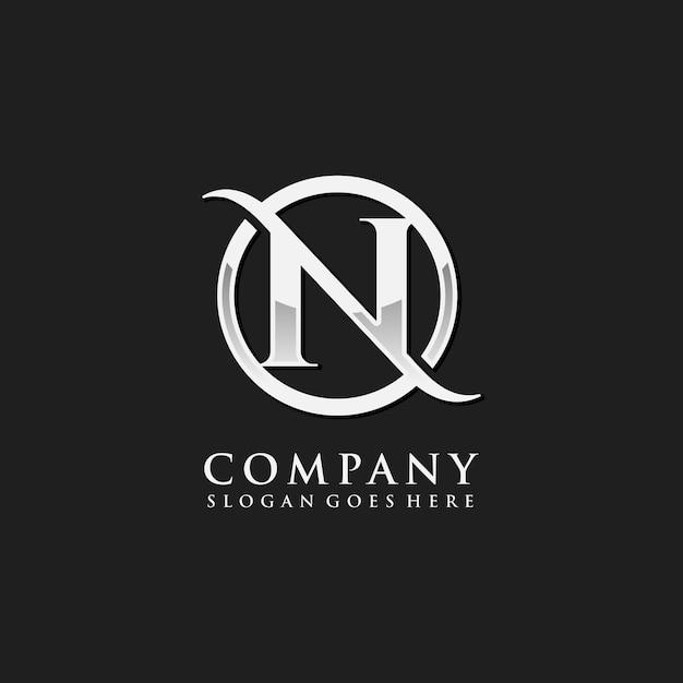 Letter n chroom eerste logo sjabloon Premium Vector