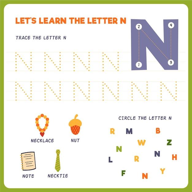 Letter n-werkblad voor kinderen Premium Vector