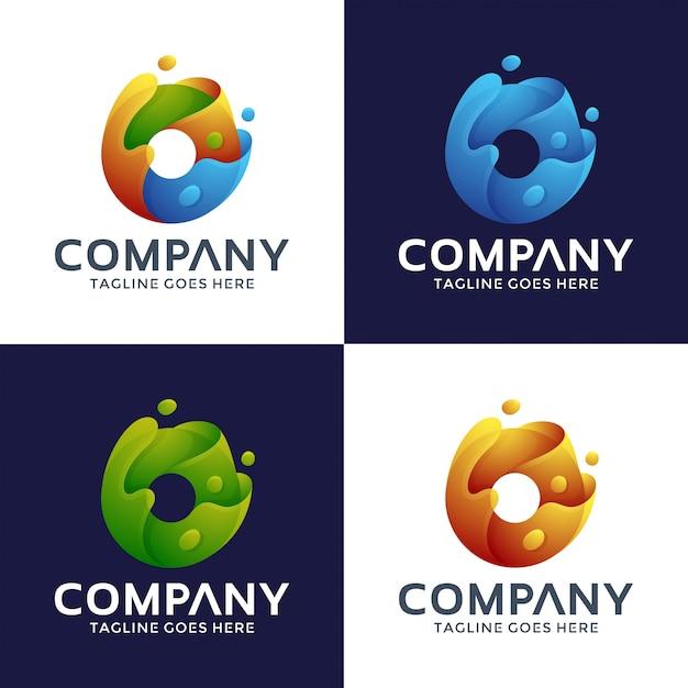 Letter o logo-ontwerp met 3d-stijl. Premium Vector
