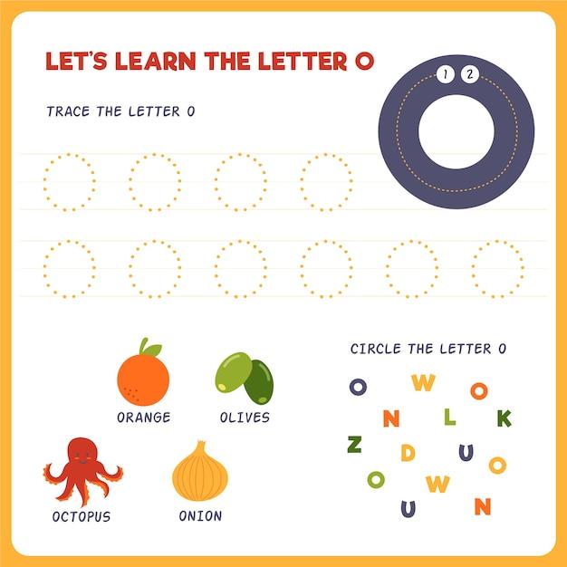 Letter o-werkblad voor kinderen Gratis Vector
