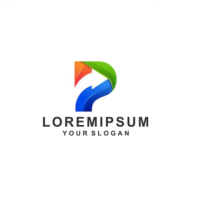 Letter p logo kleurrijk Premium Vector
