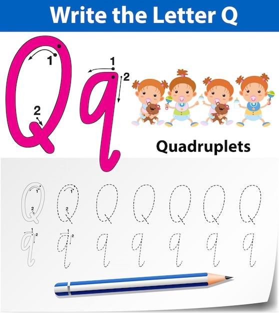 Letter q tracing alfabet werkbladen Premium Vector