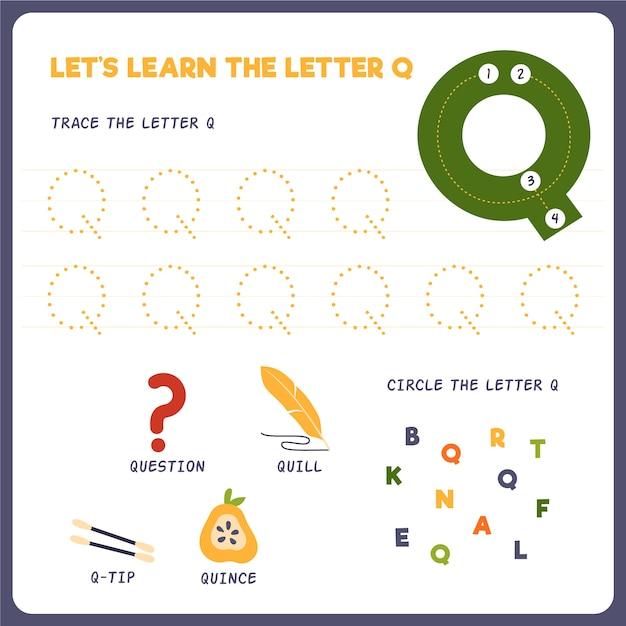 Letter q-werkblad voor kinderen Gratis Vector
