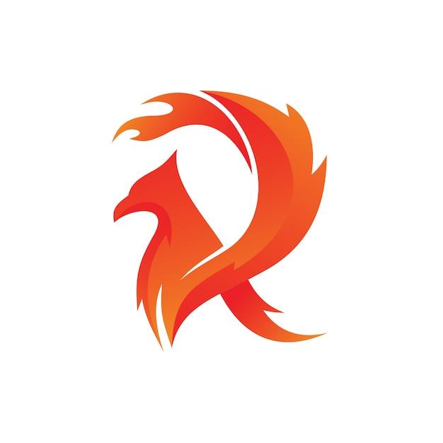 Letter r fire bird logo vector Premium Vector