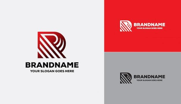 Letter r logo geometrische vorm Premium Vector