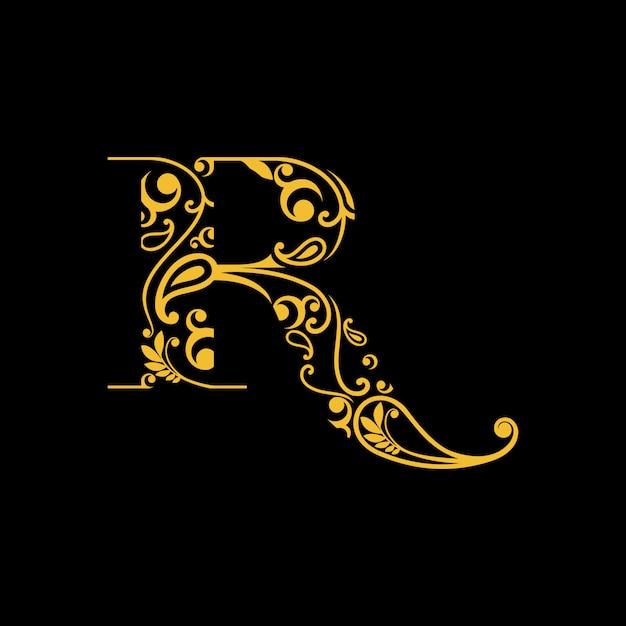 Letter r-logo met traditionele gravure / batik uit indonesië Premium Vector