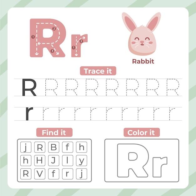 Letter r-werkblad met konijn Gratis Vector