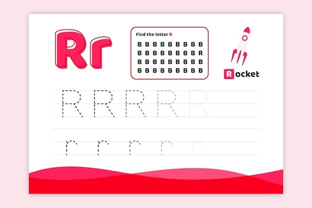 Letter r-werkblad met raket Gratis Vector