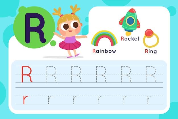 Letter r-werkblad met regenboog en raket Gratis Vector