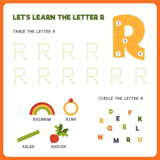 Letter r-werkblad voor kinderen Gratis Vector