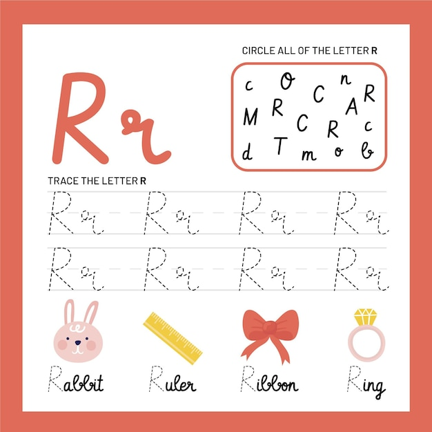 Letter r-werkbladsjabloon Gratis Vector