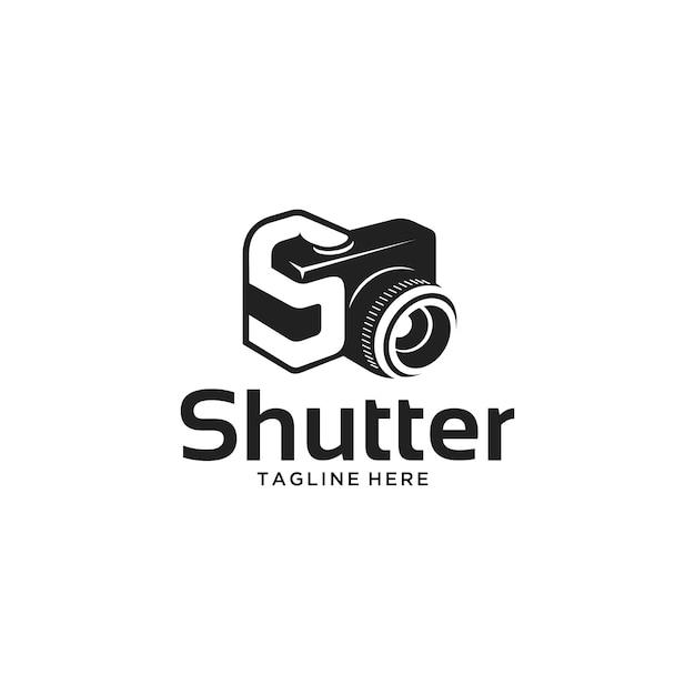 Letter s en sluitertijd camera-logo Premium Vector