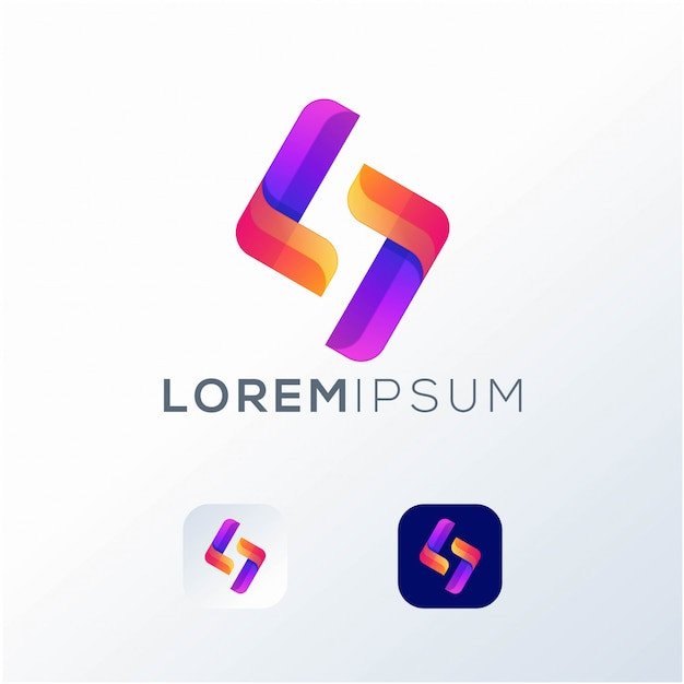 Letter s pictogram logo Premium Vector