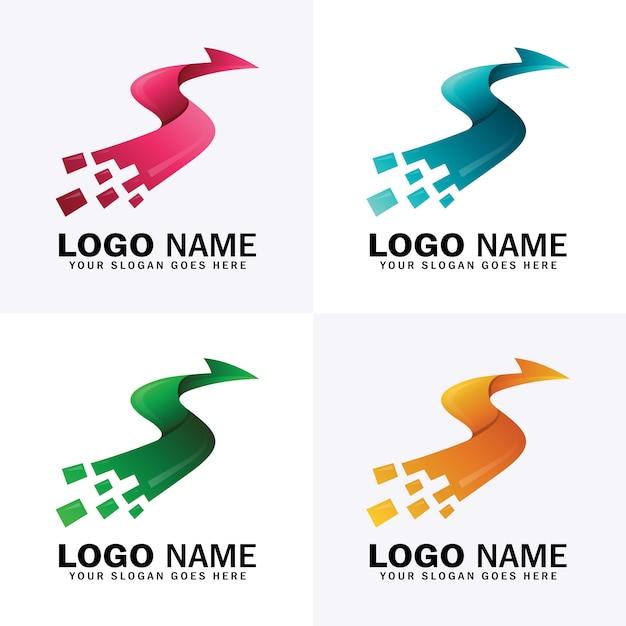 Letter s pijl logo met vier verschillende kleuren Premium Vector