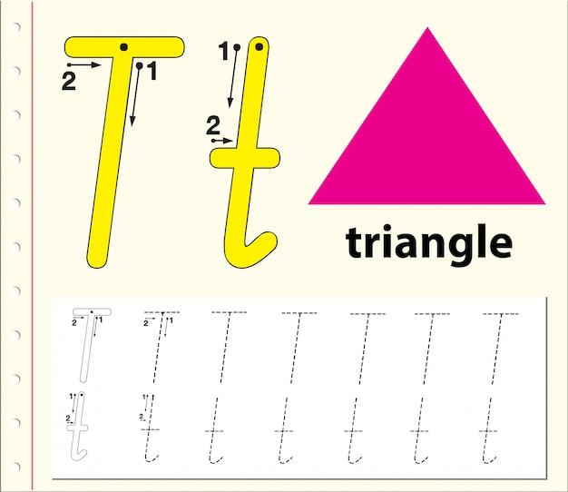 Letter t tracing alfabet werkbladen Premium Vector