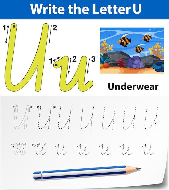 Letter u tracing alfabet werkbladen Premium Vector
