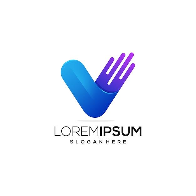 Letter v logo pictogram Premium Vector