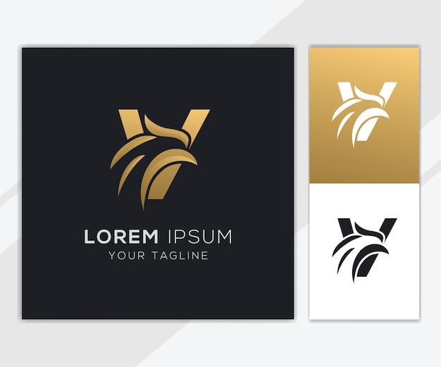 Letter v met luxe abstracte eagle logo sjabloon Premium Vector
