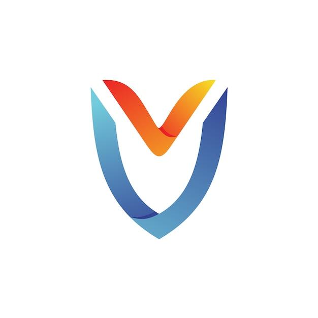Letter v shield logo vector Premium Vector
