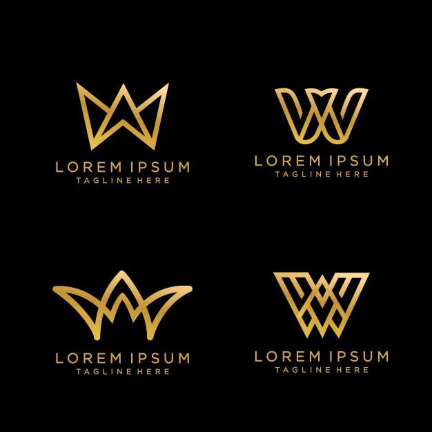 Letter w luxe monogram logo design met gouden kleur. Premium Vector