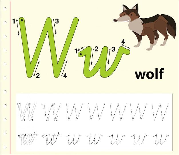 Letter w tracing alfabet werkbladen Premium Vector